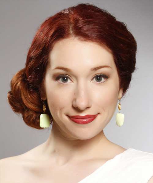 Formal Curly Updo Hairstyle - Dark Red (Bright)