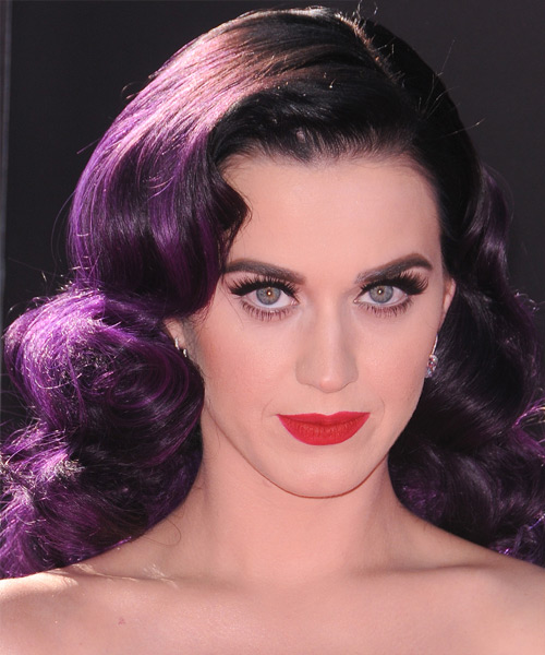 Katy Perry Long Wavy Hairstyle - Purple