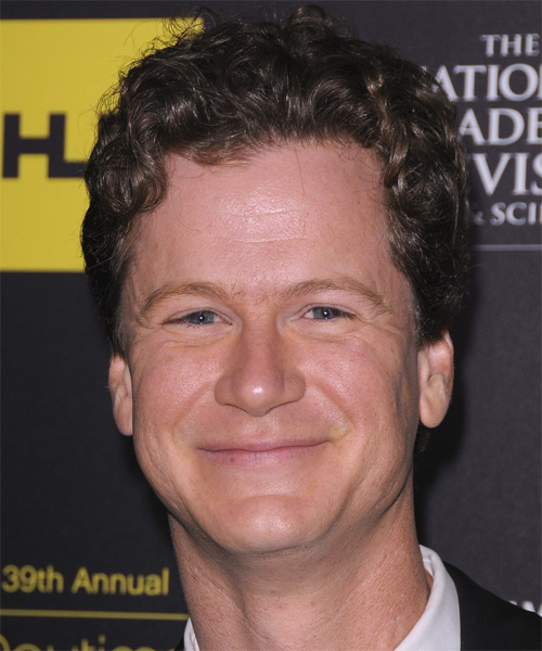 Jonathan Mangum Short Curly Hairstyle - Dark Brunette