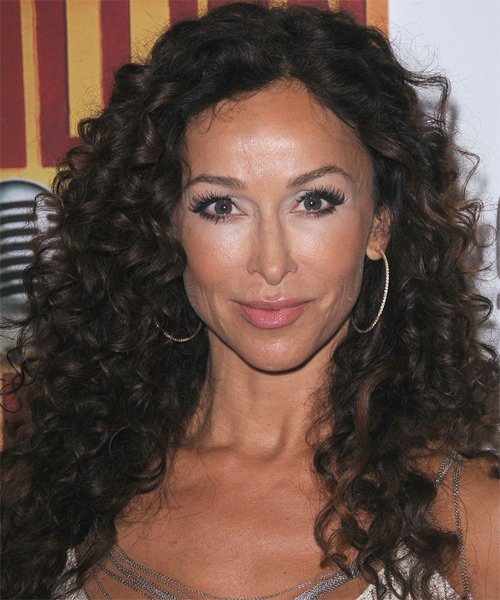 Sofia Milos Long Curly Hairstyle - Black