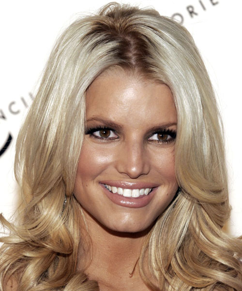 Jessica Simpson Long Wavy Formal Hairstyle - Light Blonde (Champagne) Hair Color