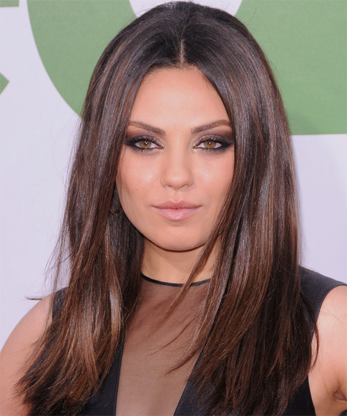 Mila Kunis Long Straight Hairstyle - Dark Brunette (Chocolate)