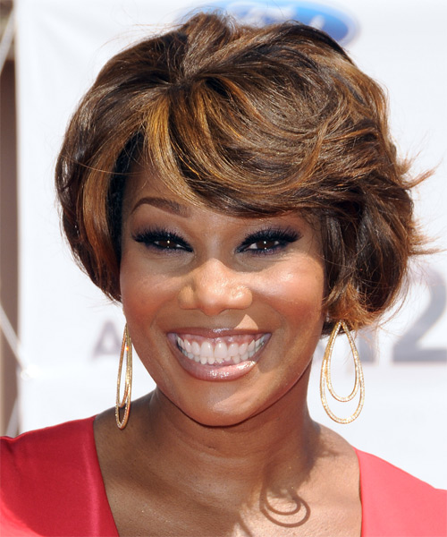 Yolanda Adams Short Straight Formal Bob Hairstyle with Side Swept Bangs - Black Hair Color