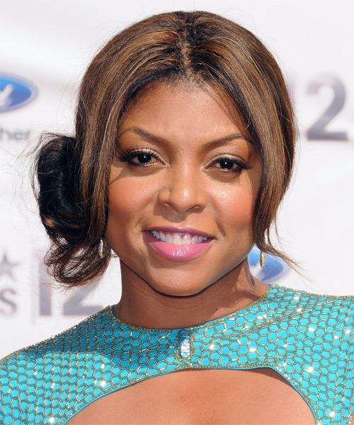 Taraji P. Henson Straight Casual Updo Hairstyle - Black Hair Color