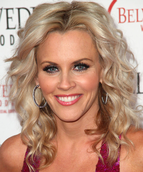 Jenny McCarthy Medium Wavy Shag Hairstyle - Light Blonde (Ash)