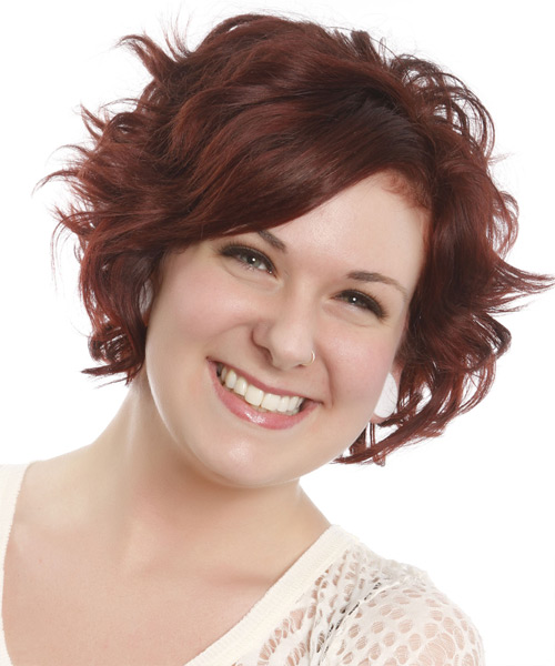 Short Wavy Casual Hairstyle with Side Swept Bangs - Dark Red (Auburn) Hair Color