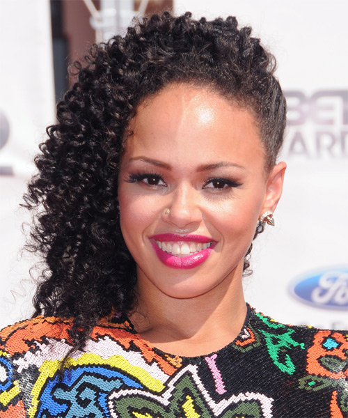Elle Varner  Updo Medium Curly Casual Half Up Hairstyle - Black Hair Color