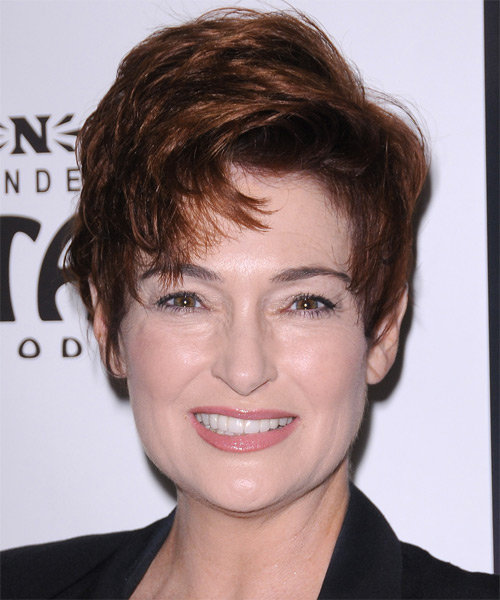 Carolyn Hennesy Short Straight Formal Hairstyle with Side Swept Bangs - Dark Red (Copper) Hair Color