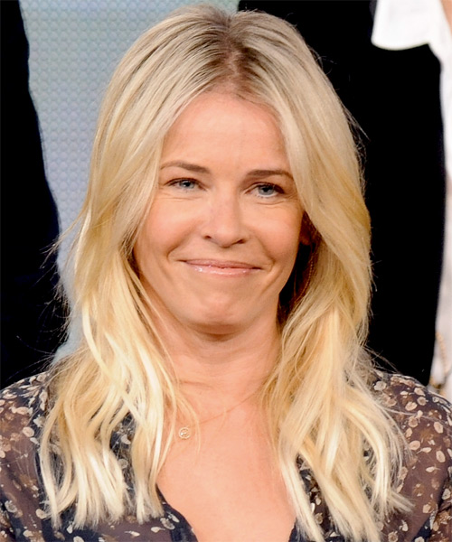 Chelsea Handler Long Straight Casual Hairstyle - Light Blonde (Champagne) Hair Color