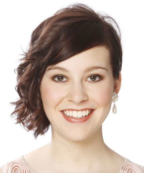 Short Wavy Casual Hairstyle - Medium Brunette Hair Color