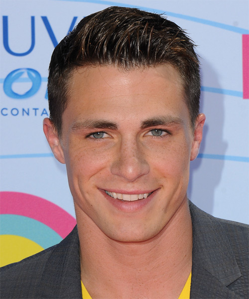 Colton Haynes Short Straight Hairstyle - Dark Brunette