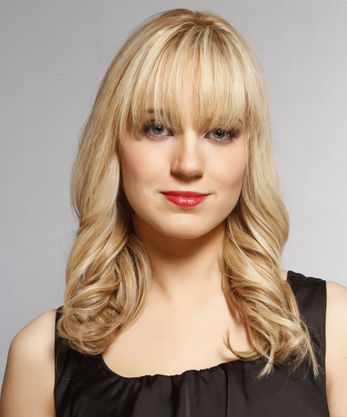 Long Wavy Formal Hairstyle with Blunt Cut Bangs - Medium Blonde Hair Color