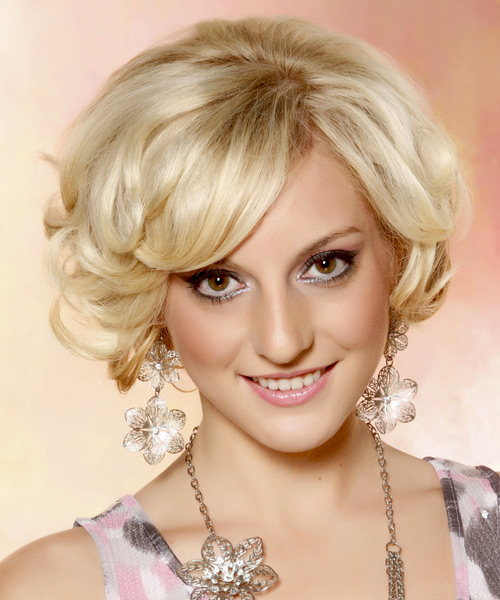 Short Curly Formal Bob Hairstyle - Light Blonde (Golden)