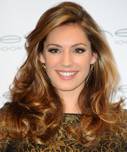 Kelly Brook Long Straight Hairstyle - Light Brunette (Golden)