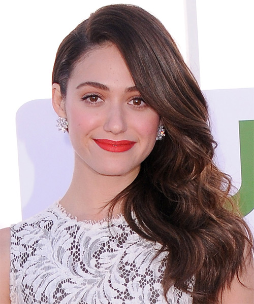 Emmy Rossum Long Wavy Formal Hairstyle - Dark Brunette (Chocolate) Hair Color