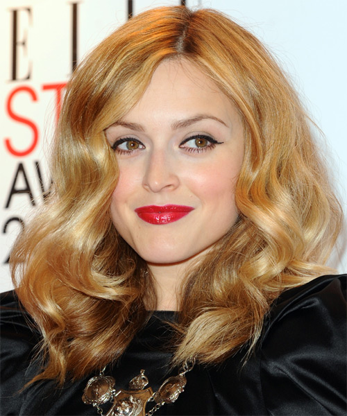 Fearne Cotton Medium Wavy Casual Hairstyle - Dark Blonde (Golden) Hair Color