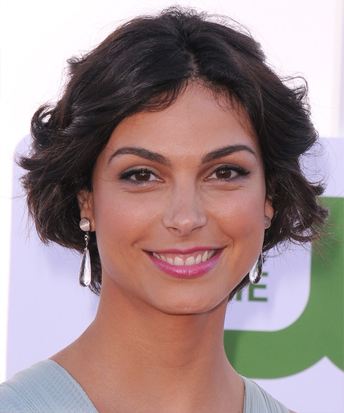 Morena Baccarin Short Wavy Casual Bob Hairstyle - Black Hair Color