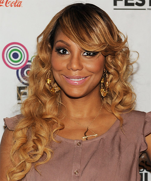 Tamar Braxton Long Curly Formal Hairstyle with Side Swept Bangs - Black (Golden) Hair Color