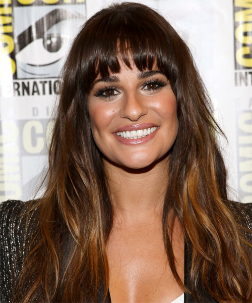 Lea Michele Long Straight Casual Hairstyle with Blunt Cut Bangs - Medium Brunette (Mocha) Hair Color