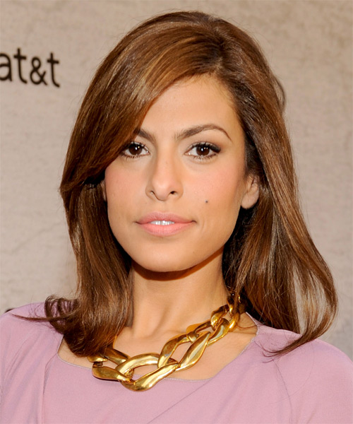 Eva Mendes Medium Straight Formal Hairstyle - Medium Brunette (Caramel) Hair Color