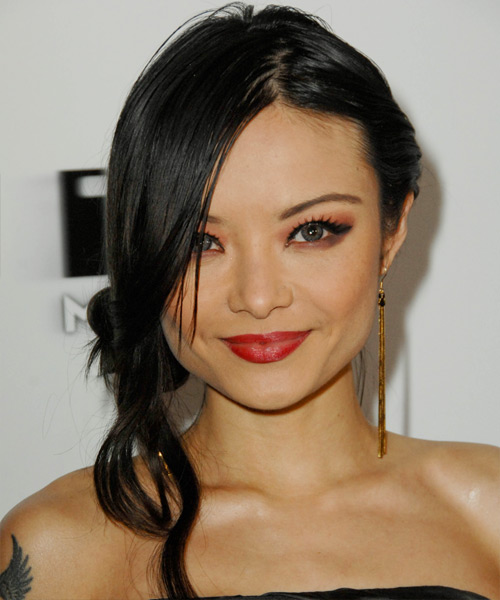 Tila Tequila Updo Long Straight Casual Updo Hairstyle - Black Hair Color