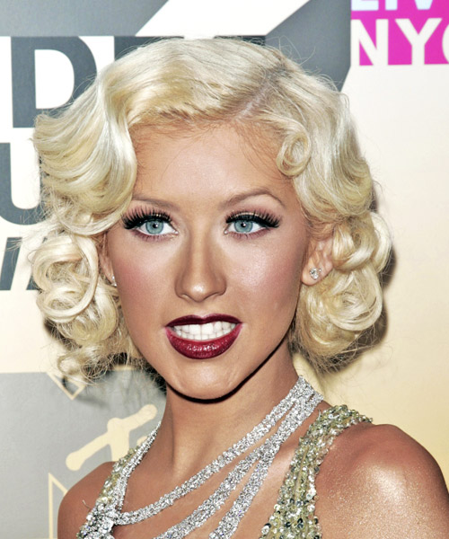 Christina Aguilera Medium Wavy Formal Hairstyle - Light Blonde (Platinum) Hair Color