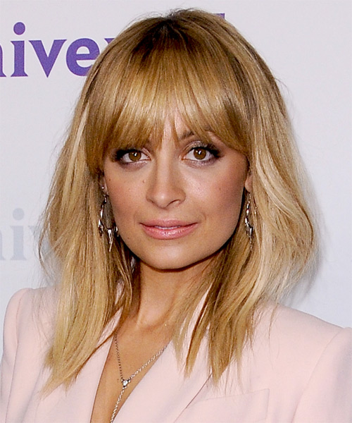 Nicole Richie Medium Straight Casual  with Blunt Cut Bangs - Dark Blonde (Golden)