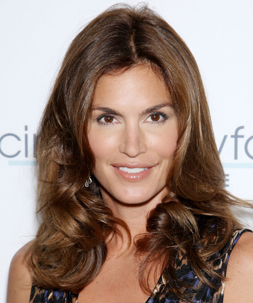 Cindy Crawford Long Wavy Formal Hairstyle - Medium Brunette (Chocolate) Hair Color