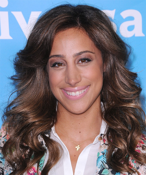 Danielle Jonas Long Wavy Casual Shag Hairstyle - Dark Brunette (Mocha) Hair Color