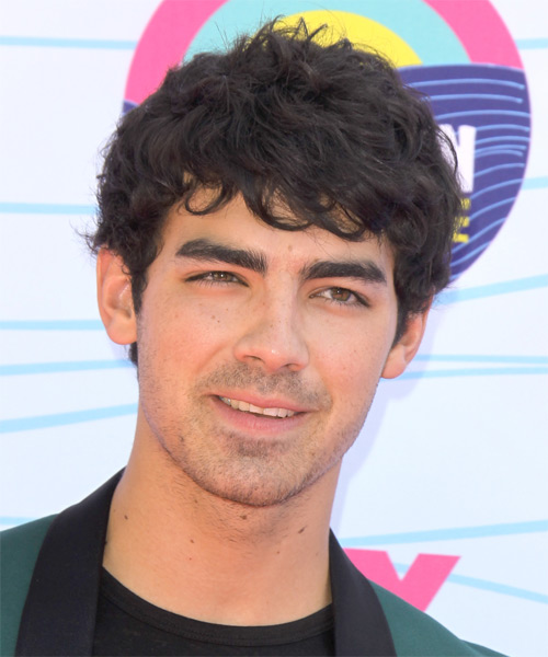 Joe Jonas Short Wavy Shag Hairstyle - Dark Brunette