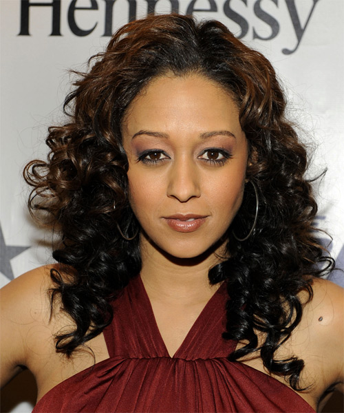 Tia Mowry Long Curly Formal Hairstyle - Black Hair Color