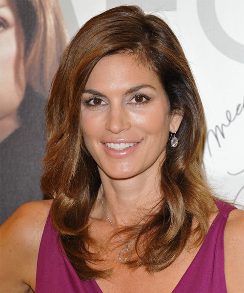 Cindy Crawford Long Straight Formal Hairstyle - Medium Brunette (Auburn) Hair Color