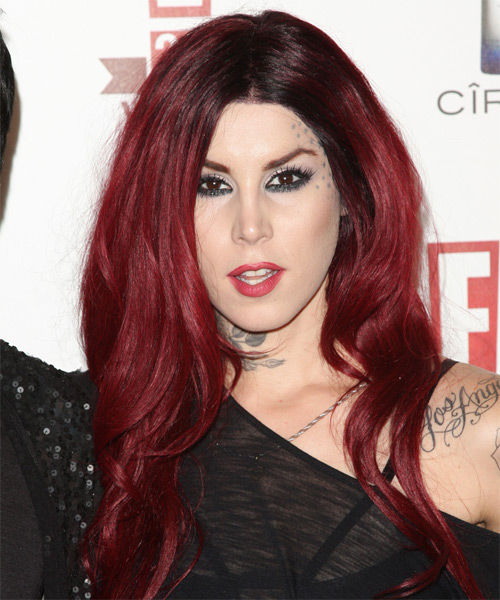 Kat Von D Long Wavy Casual Hairstyle - Dark Red (Burgundy) Hair Color