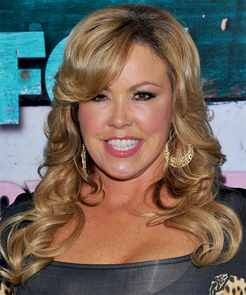 Mary Murphy Long Wavy Formal Hairstyle with Side Swept Bangs - Dark Blonde (Golden) Hair Color
