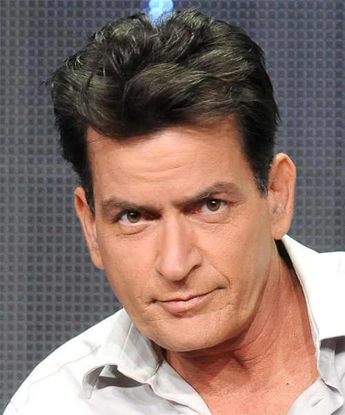 Charlie Sheen  Short Straight Hairstyle - Medium Brunette (Ash)