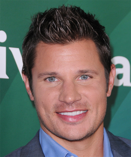 Nick Lachey Short Straight Casual Hairstyle - Dark Brunette (Mocha) Hair Color