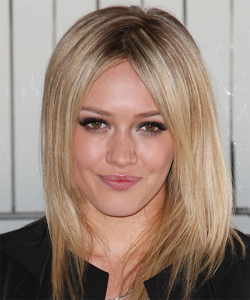 Hilary Duff Medium Straight Hairstyle - Black (Golden)