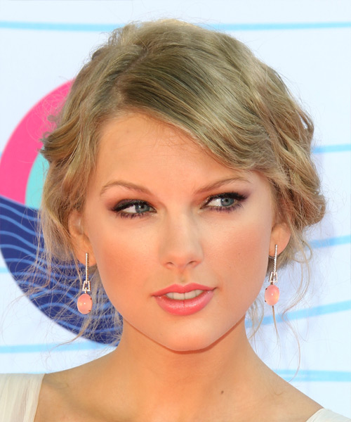 Taylor Swift Curly Casual Updo Hairstyle with Side Swept Bangs - Light Blonde (Ash) Hair Color