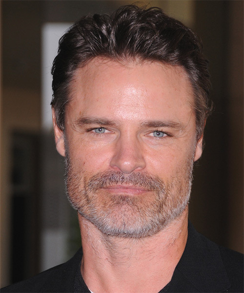 Dylan Neal Short Straight Hairstyle - Medium Brunette (Ash)