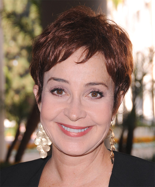 Annie Potts Short Straight Casual Hairstyle with Side Swept Bangs - Medium Brunette (Chestnut) Hair Color