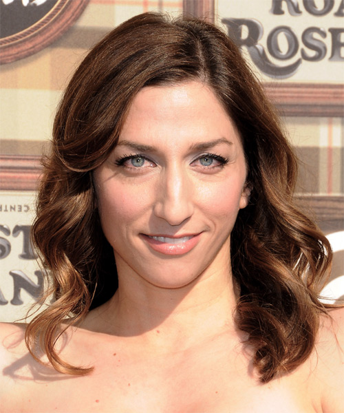 Chelsea Peretti Medium Wavy Formal Hairstyle - Medium Brunette (Chocolate) Hair Color