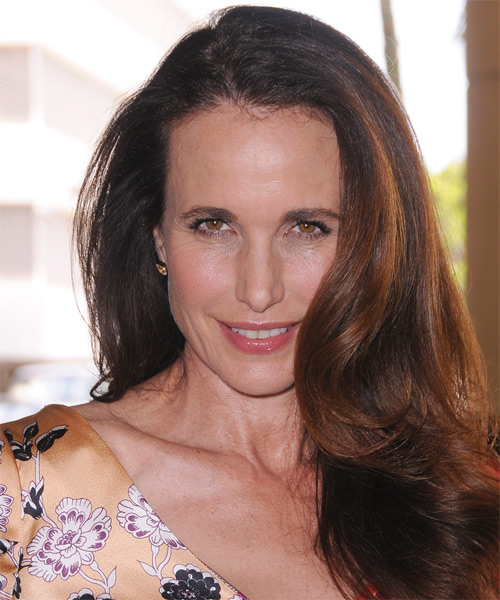 Andie MacDowell Long Straight Hairstyle - Medium Brunette (Caramel)
