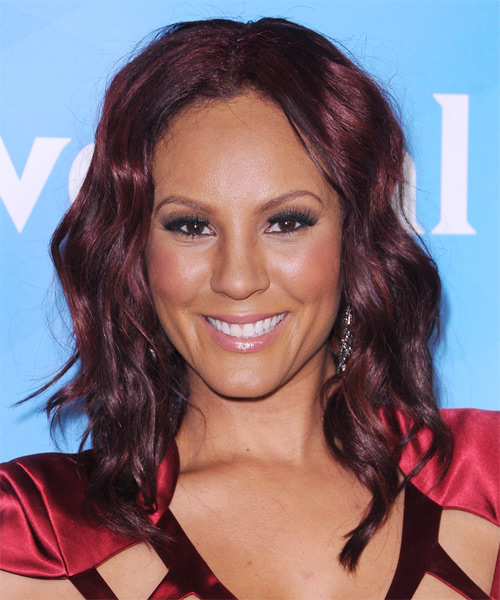 Nikki Chu Medium Wavy Casual Hairstyle - Dark Red (Plum) Hair Color