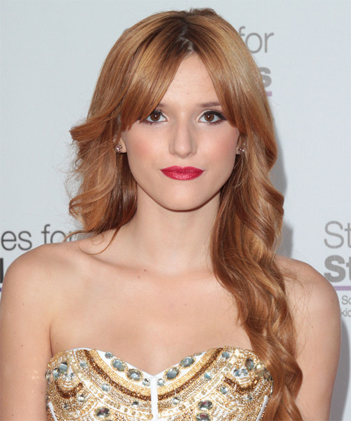 Bella Thorne Long Wavy Formal Braided Hairstyle with Layered Bangs - Medium Red Hair Color