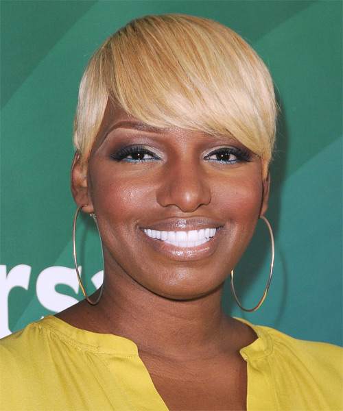 Nene Leakes Short Straight Formal Hairstyle with Side Swept Bangs - Medium Blonde Hair Color