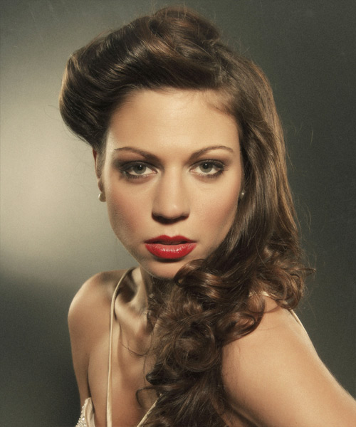 Formal Curly Half Up Hairstyle - Medium Brunette (Ash)