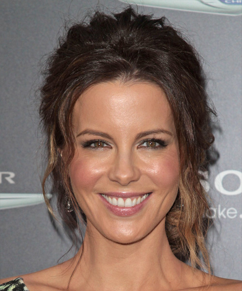 Kate Beckinsale Curly Casual Updo Hairstyle - Medium Brunette Hair Color