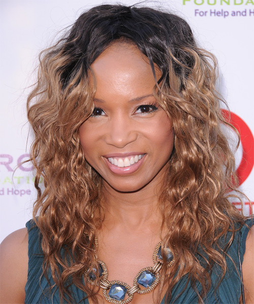 Elise Neal Long Wavy Hairstyle - Dark Brunette