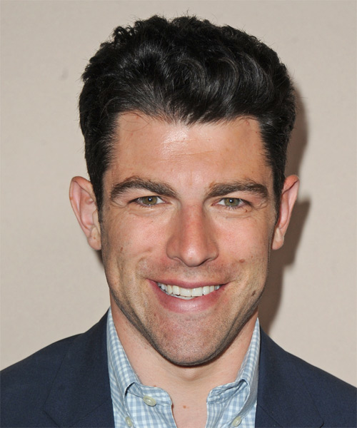 Max Greenfield Short Straight Formal Hairstyle - Dark Brunette (Ash) Hair Color