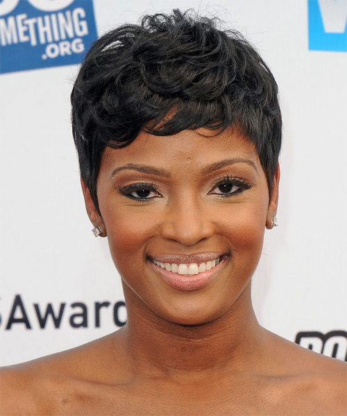 Ariane Davis Short Straight Casual Hairstyle with Side Swept Bangs - Black Hair Color